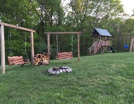 Fire Pit and Swing Sets